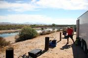 The team trailer at the Colorado river