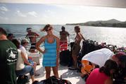 Amy and Group on dive boat at BIBR Roatan Honduras