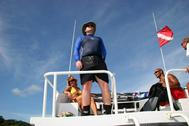 Kevin, Deb, and Charlie on dive boat BIBR